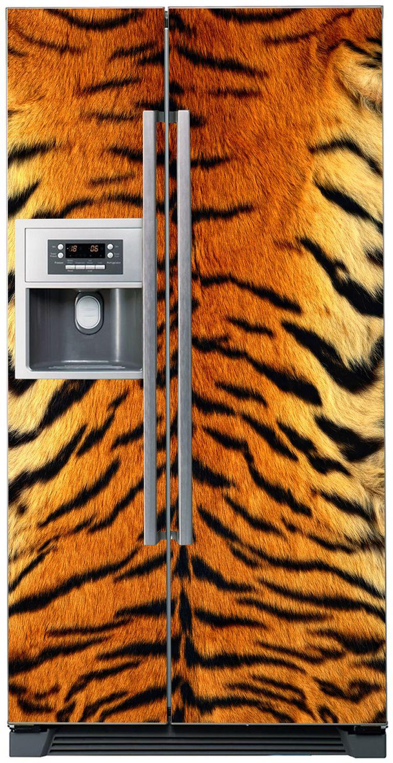 Виниловая наклейка на холодильник - Мех тигра
