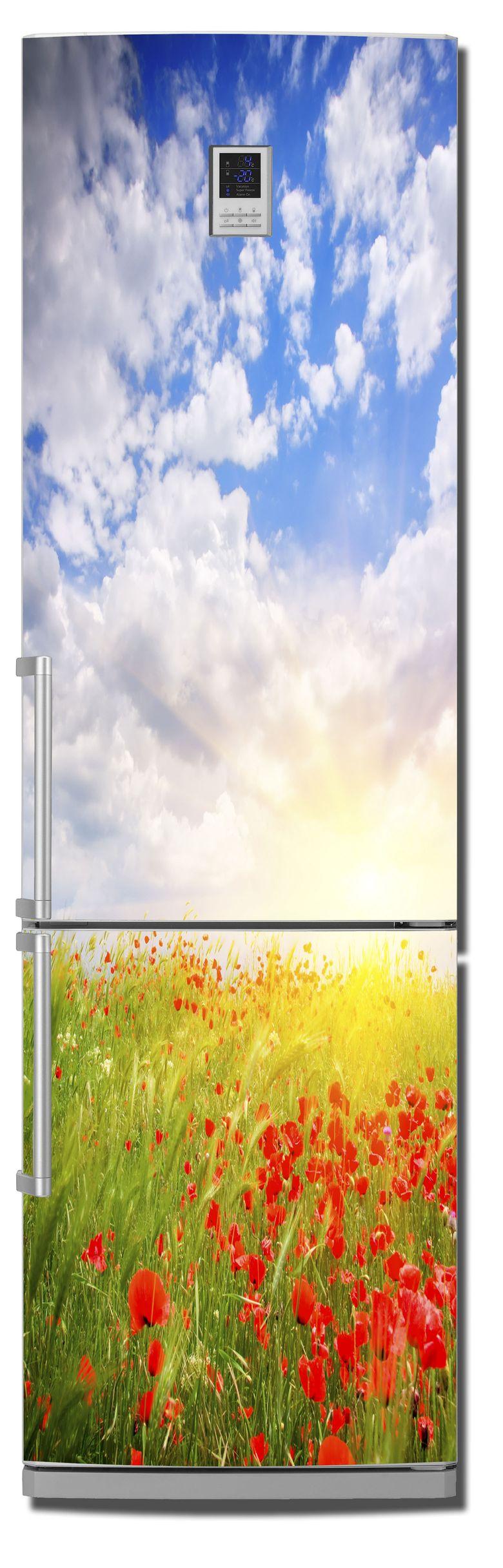 Наклейка на холодильник  - маки