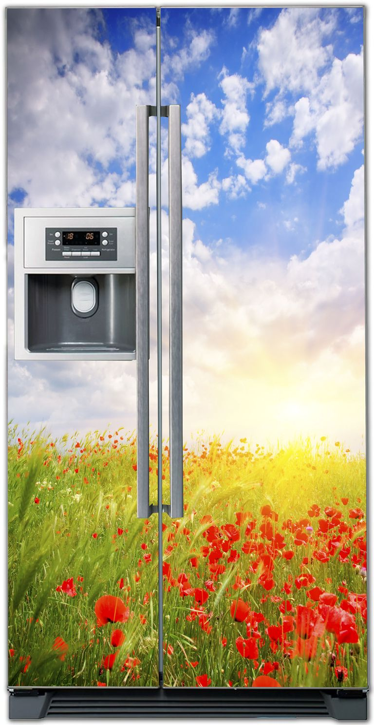 Виниловая наклейка на холодильник - Маки