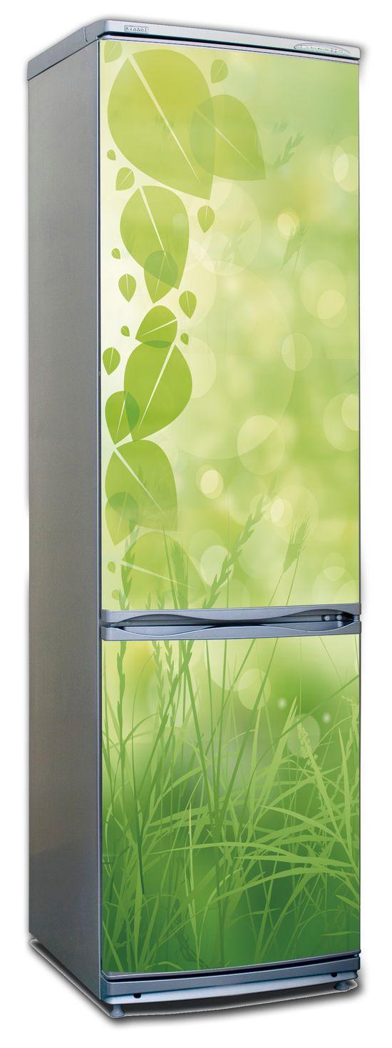 Виниловая наклейка на холодильник - Зеленая трава