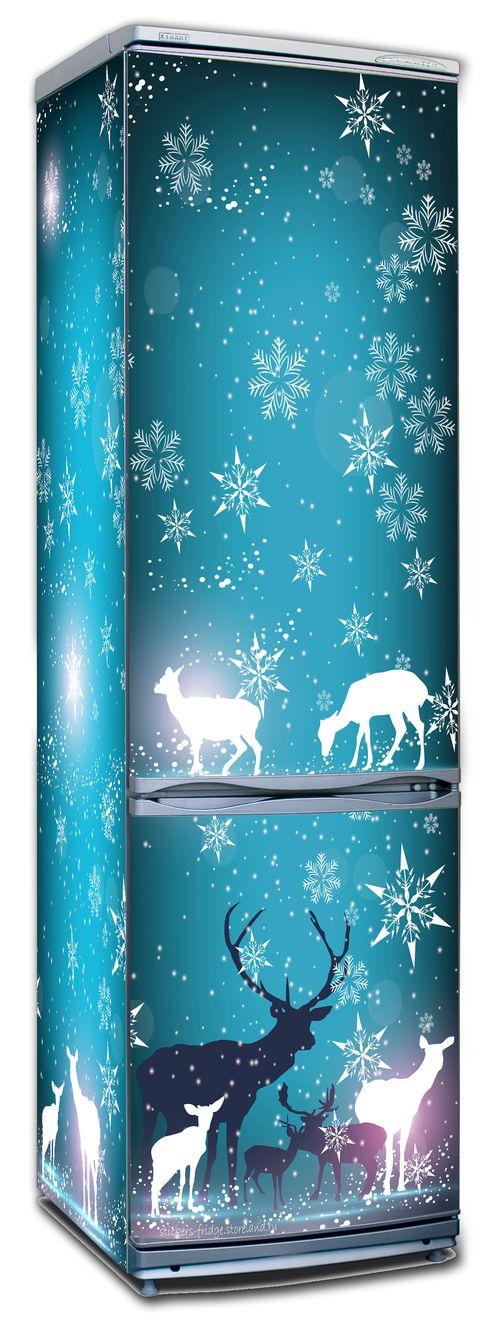 Наклейка на холодильник - Северное сияние