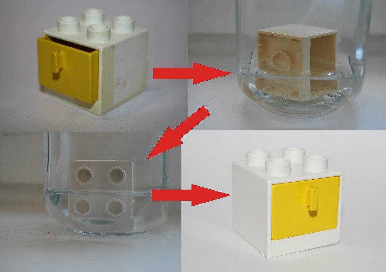 процесс отбеливания Лего деталек