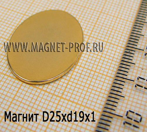 Магнит N33 D25xd19x1мм.