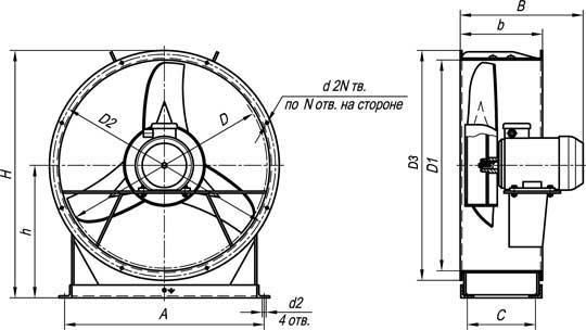 Варианты исполнений вентиляторов осевых типа ВО 06-300