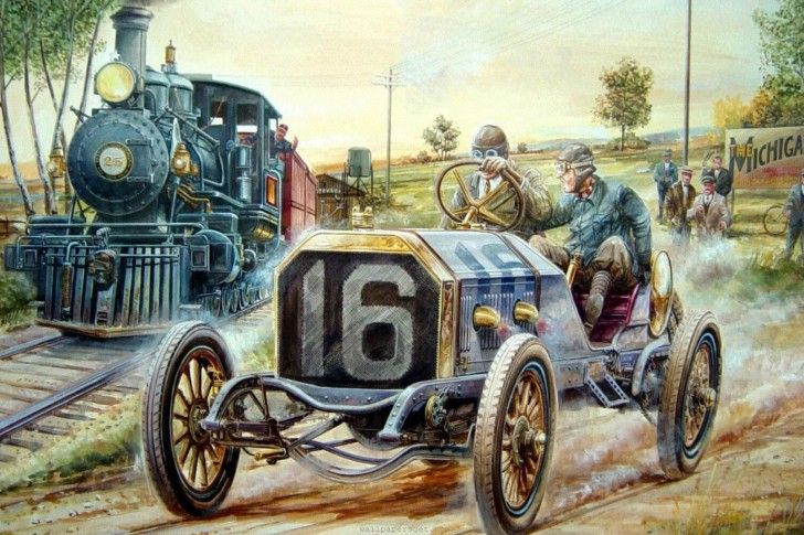painting, masterpieces, old, cars, worker, Art wallpapers