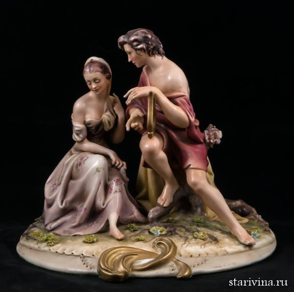Фарфоровая статуэтка Психея и Эрос. Antonio Borsato, Милан, Италия. 1970 гг.