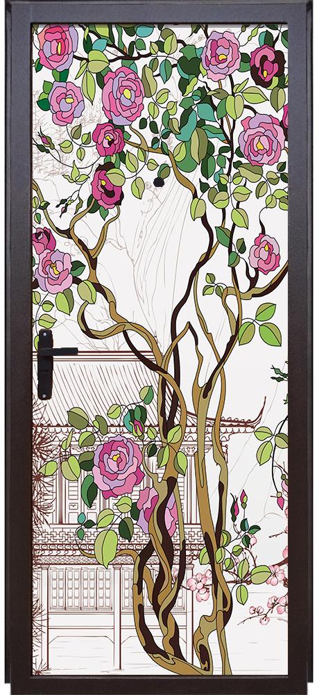 Наклейка на дверь - Розы | магазин Интерьерные наклейки