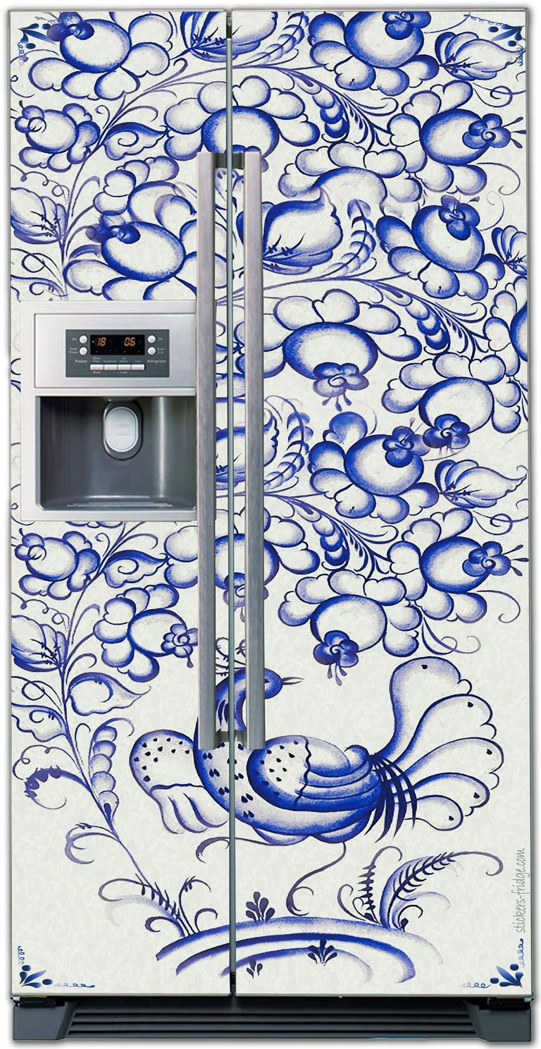 Наклейка на холодильник - Гжель