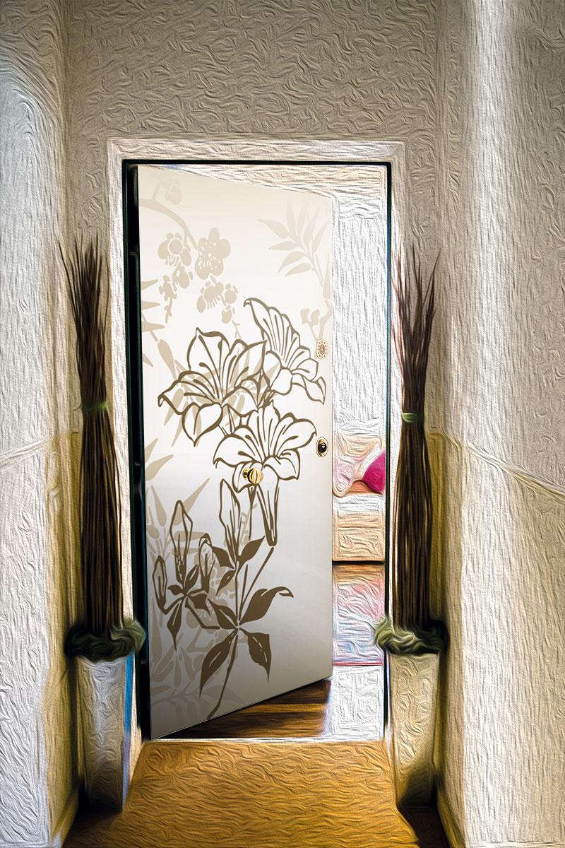 Виниловая наклейка на дверь - Луговые цветы