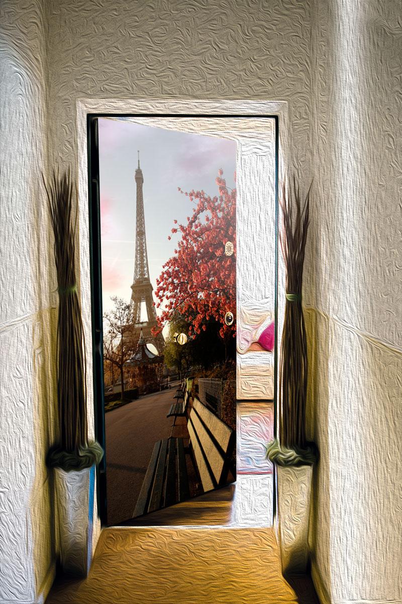 Наклейка на дверь - Весенний Париж | магазин Интерьерные наклейки