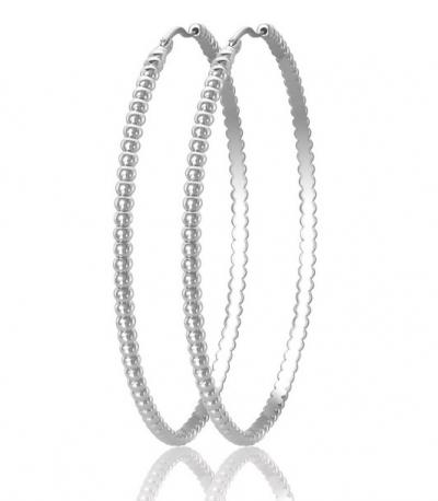 Серьги стальные в виде ребристых обручей