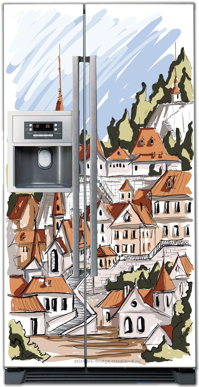 наклейка на холодильник -Город. скетч 1