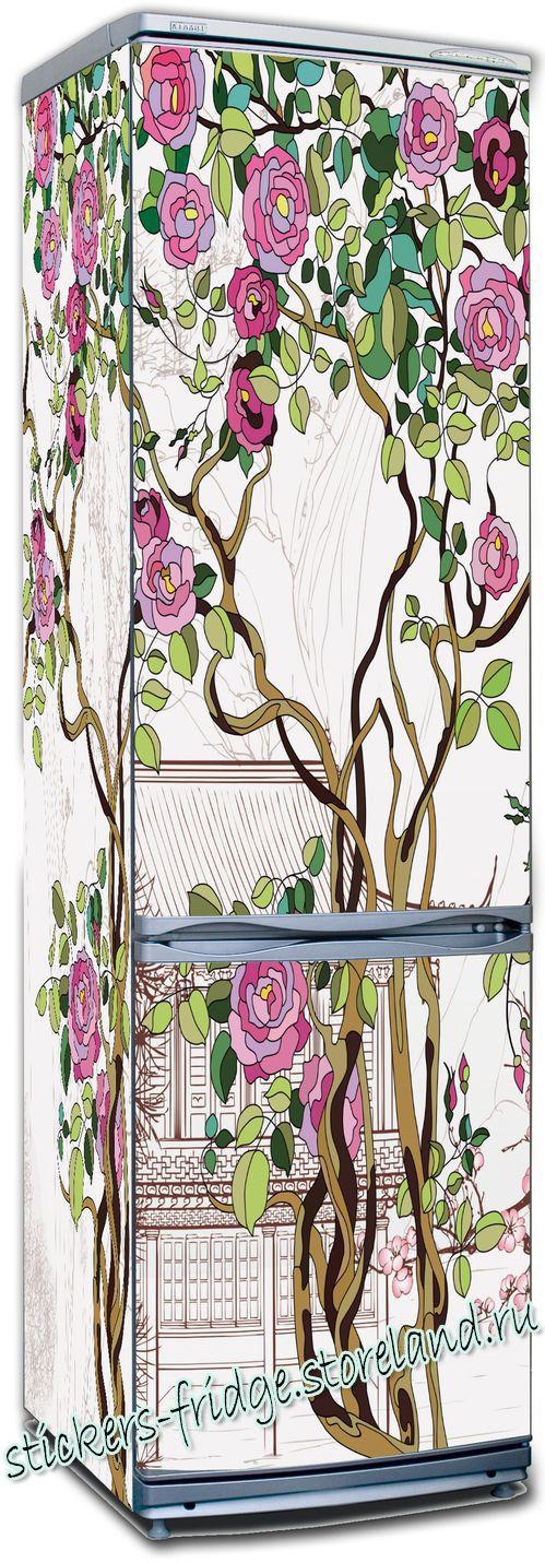 Наклейка на холодильник - Розы