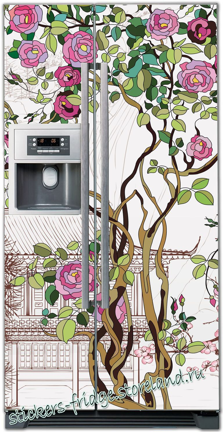Виниловая наклейка на холодильник Розы