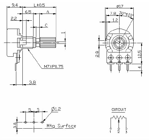 R16K1-B50K, L-15KC/CI резистор переменный 50кОм