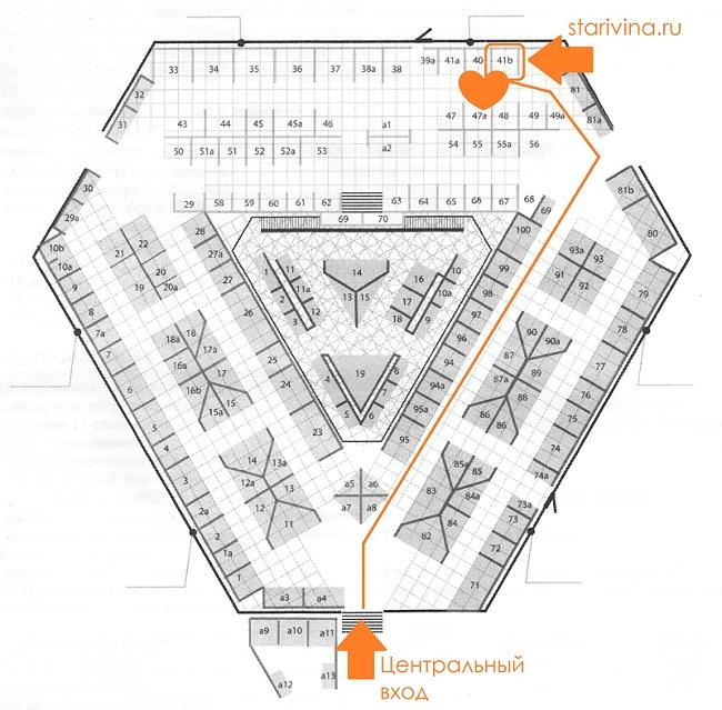 Схема расположения стенда Старивина на Тишинке
