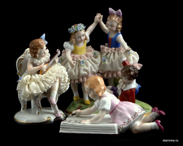 Композиция из статуэток детей фабрики Sitzendorf