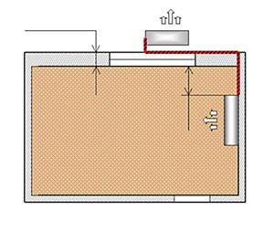 Установка кондиционера на правой (левой)  стене вид сверху
